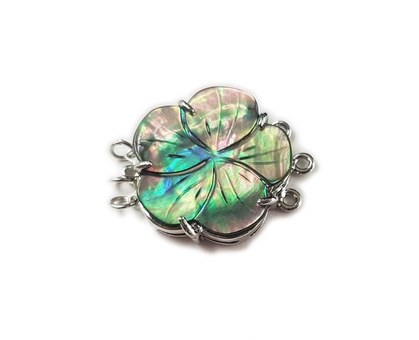 23mm Abalone Shell Carved Rose Flower Triple-Strand Clasp