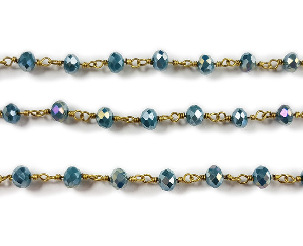 5x6mm 12 Inches Metallic Sea Blue With Ab Glass Rondelles With Brass Chain