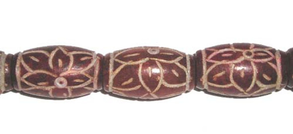 11x20mm 19 Beads Dark Red Antiqued Jade Carved Barrel Beads