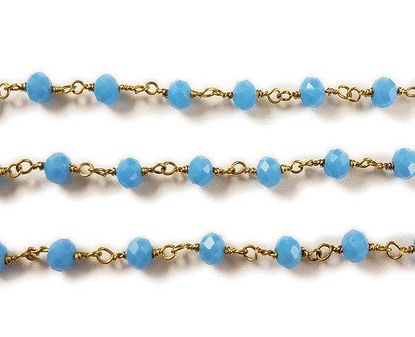 5x6mm 12 Inches Cornflower Blue Glass Rondelles With Brass Chain
