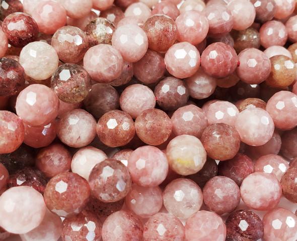 8mm Multicolor Strawberry Quartz Faceted Round Beads