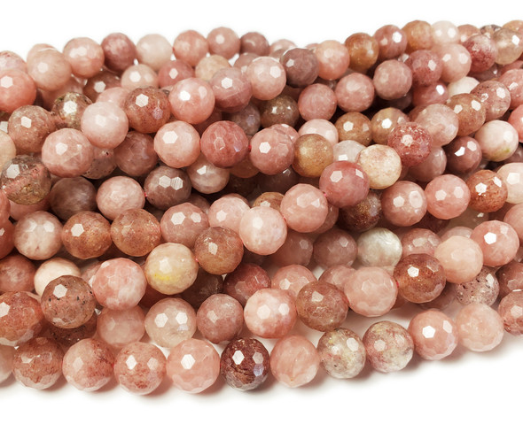 9mm Multicolor Strawberry Quartz Faceted Round Beads
