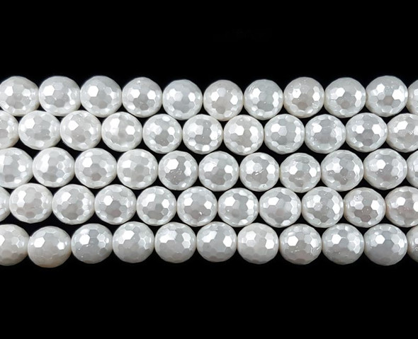 8mm Blizzard white faceted shell pearl beads