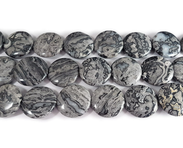 25mm Gray Picture Jasper Smooth Coin Beads