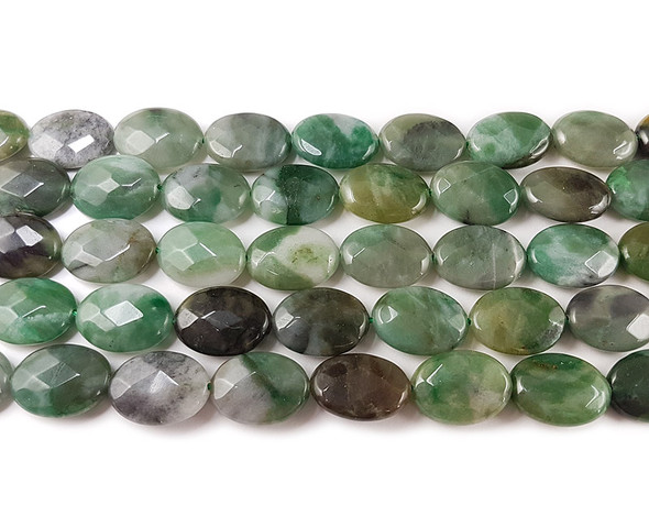13x18mm Sinkiang Jade Faceted Oval Beads