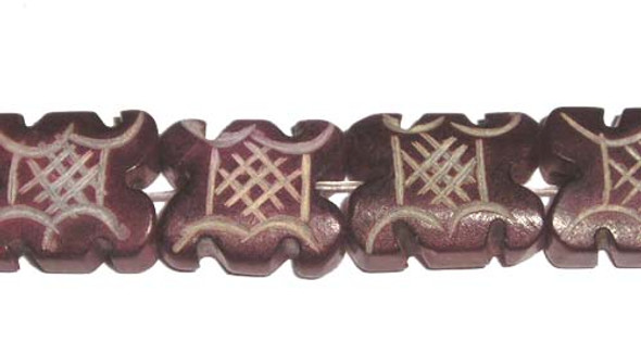14x16x6mm 25 Beads Dark Red Antiqued Jade Carved Rectangle Beads