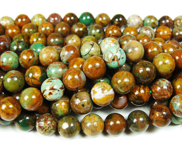 6mm Golden turquoise round beads