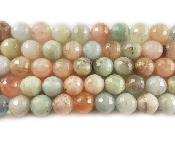 10mm Pink Morganite Multi Stone Faceted Round Beads