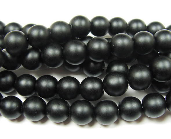 10mm  15 inches Black matte glass round beads