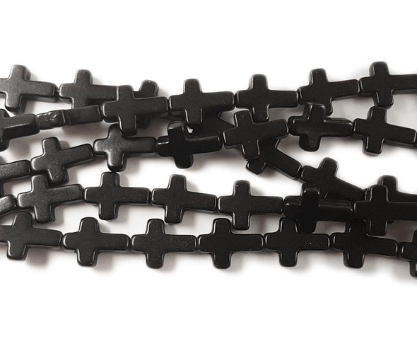 "12x15mm  16"" strand Howlite black cross beads"