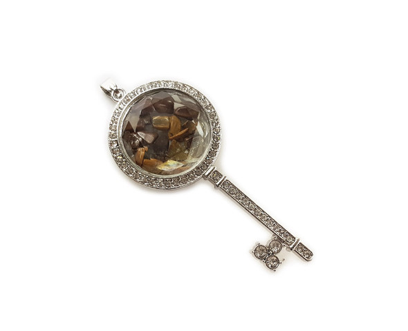 32x74mm Tiger eye chips with CZ and metal key pendant