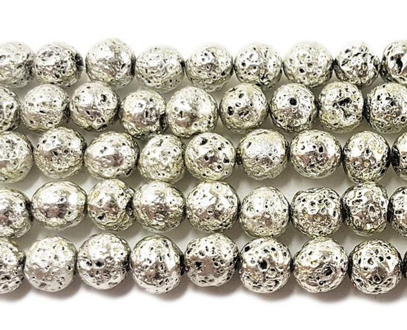 8mm Silver Metallic Lava Round Beads