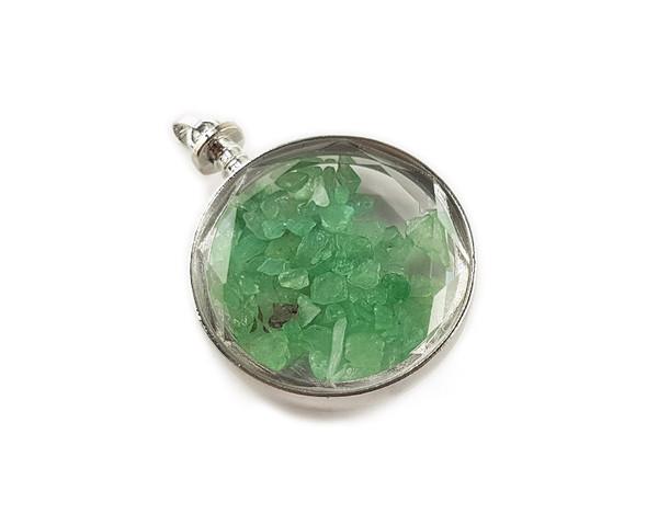 40mm Green Aventurine In Round Glass Pendant