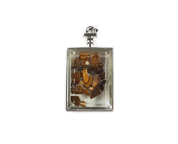 22x36mm Tiger eye chips in rectangle glass pendant