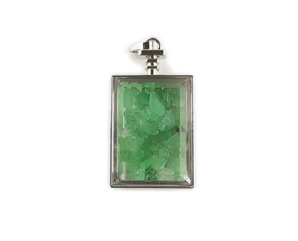 22x36mm Green Aventurine Chips In Rectangle Glass Pendant