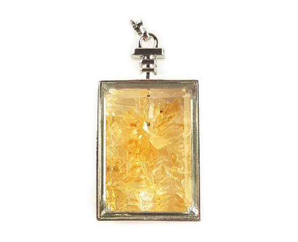 22x36mm Citrine chips in rectangle glass pendant