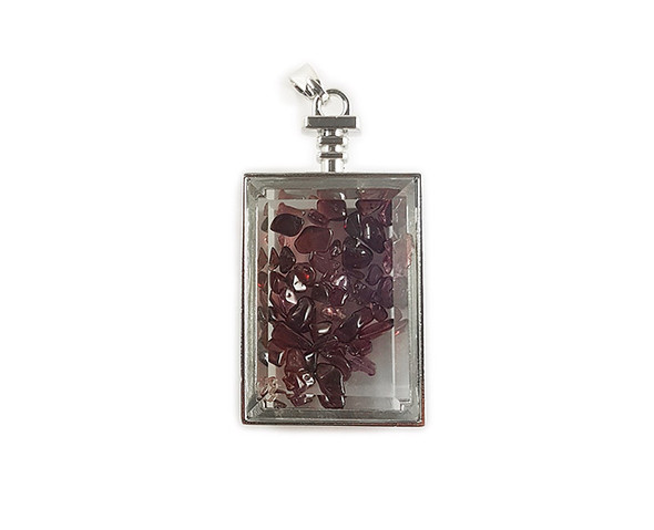 22x36mm Red Garnet Chips In Rectangle Glass Pendant