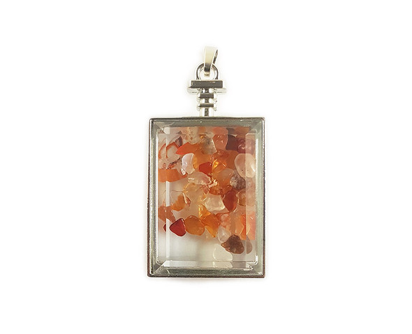 22x36mm Carnelian Chips In Rectangle Glass Pendant