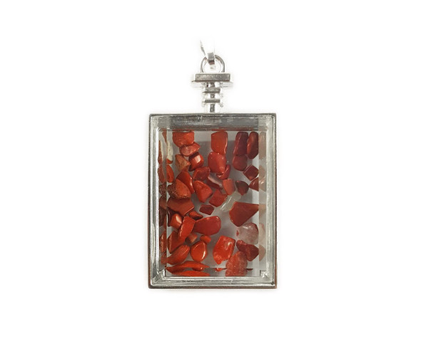 22x36mm Red jasper chips in rectangle glass pendant