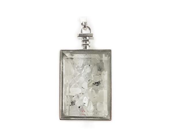 22x36mm Rutilated quartz chips in rectangle glass pendant