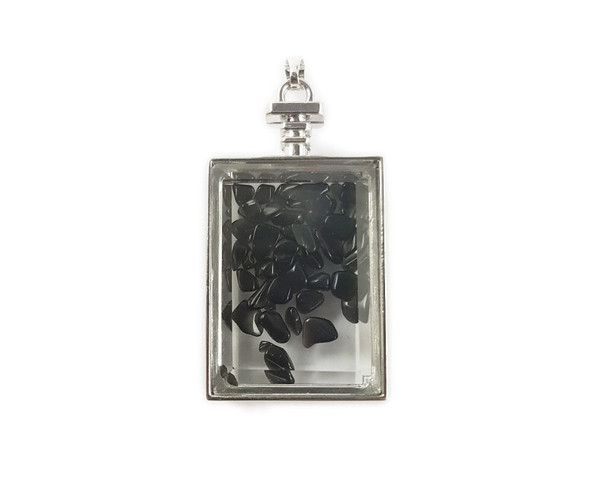 22x36mm Smoky quartz chips in rectangle glass pendant