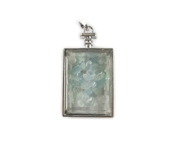 22x36mm Blue Lace Agate Chips In Rectangle Glass Pendant
