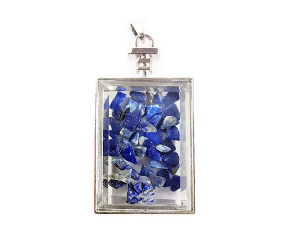 22x36mm Lapis Chips In Rectangle Glass Pendant