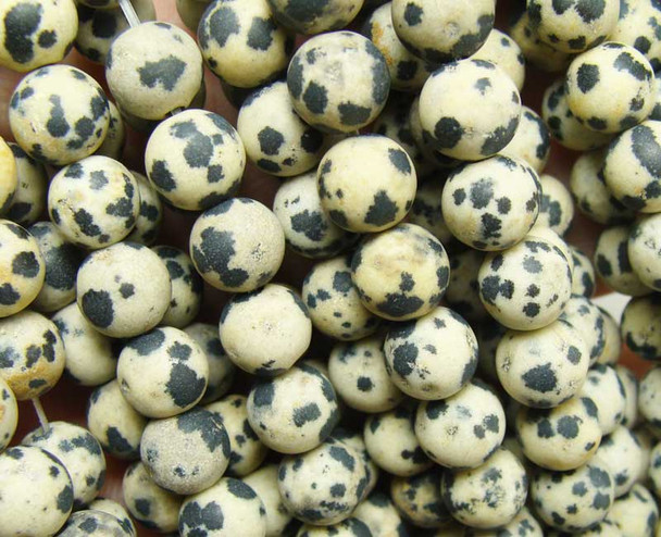 8mm  15.5 inches Dalmatian jasper matte round beads