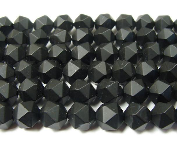 6mm  15.5 inches Black matte diamond-cut glass beads