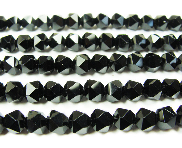 8mm  15.5 inches Black shiny diamond-cut glass beads