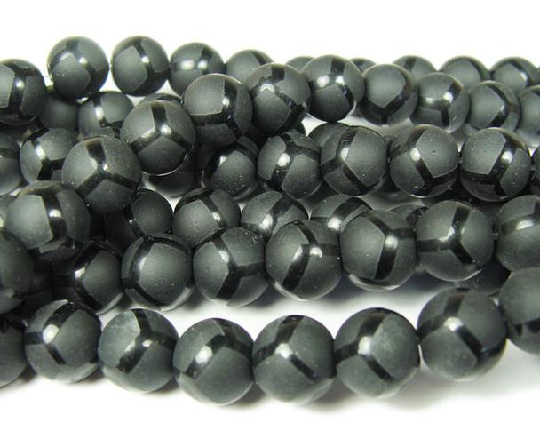 8mm  15.5 inches Black matte Tibetan style soccer beads