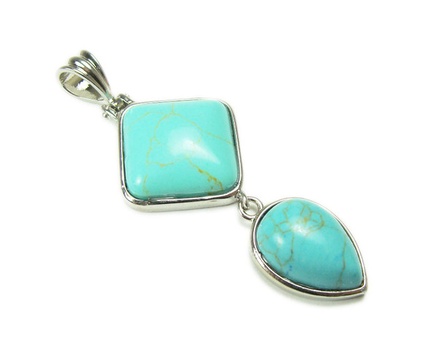 25mm x 55mm Turquoise howlite two piece dangling pendant