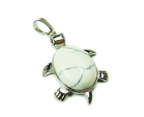 22x30mm White howlite small turtle oval pendant