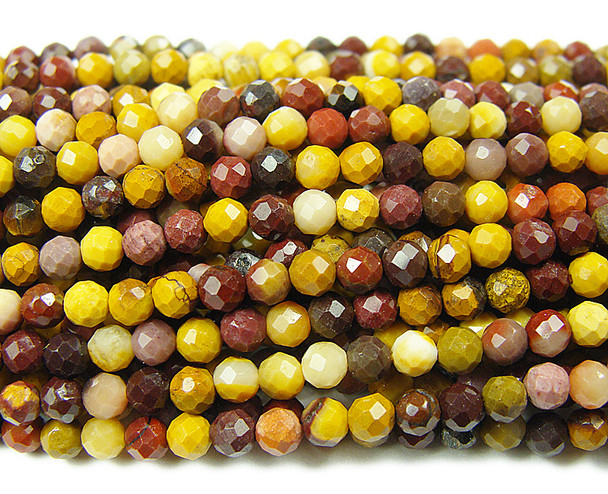 2.8mm Finely cut Mookaite faceted beads