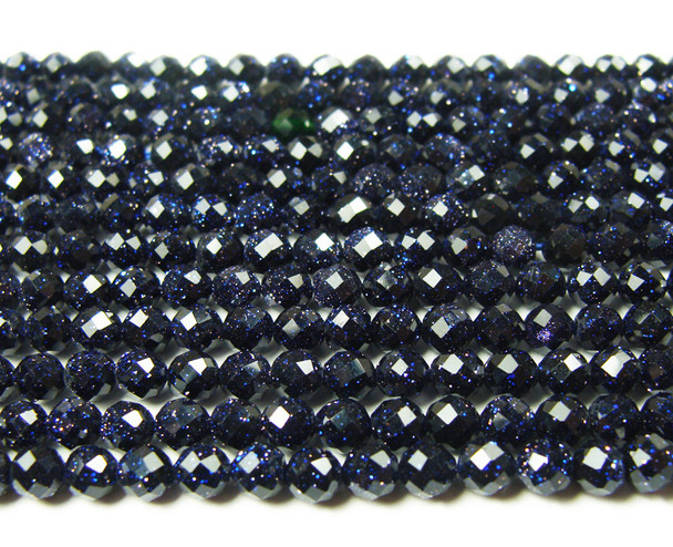 4mm Finely cut blue goldstone faceted beads