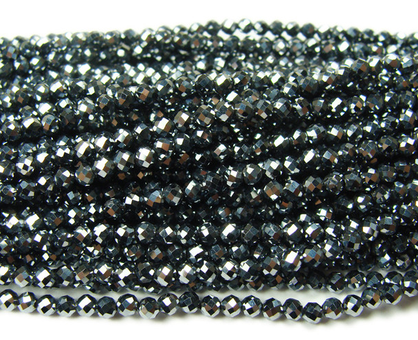 4mm Finely cut Pyrite faceted beads