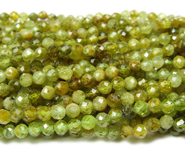 4mm Finely cut Green Garnet faceted beads