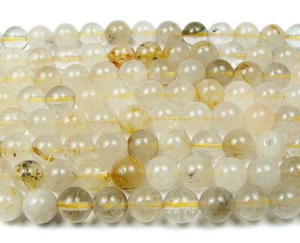 6mm Golden rutilated quartz smooth round beads