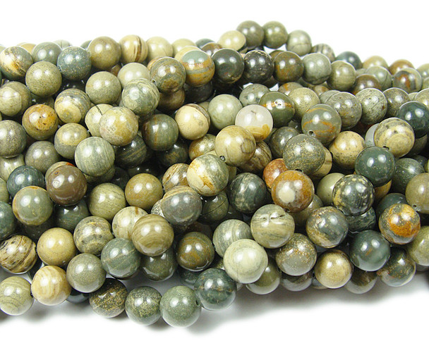 8mm Silver leaf agate smooth round beads