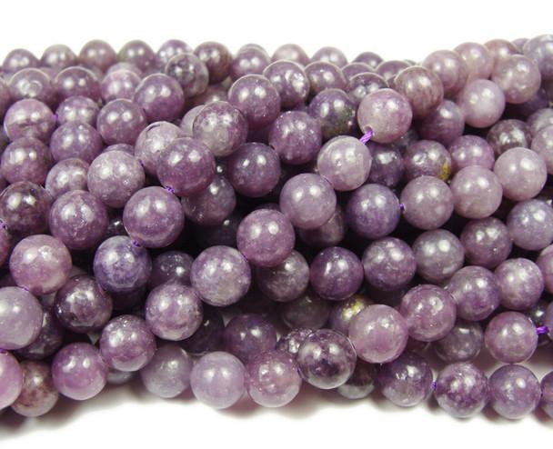 10mm Lepidolite purple smooth round beads