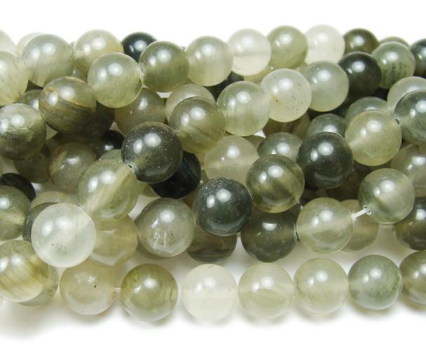 Green rutilated quartz smooth round beads