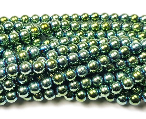 4mm Green hematite round beads