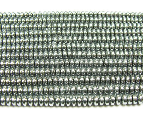 2x4mm Hematite silver rondelle beads