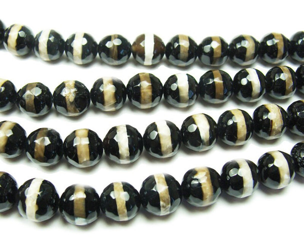 12mm Tibetan style white line black faceted beads