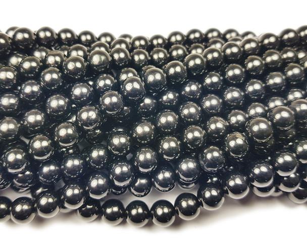 6mm Black Jet (coal quartz) smooth round beads
