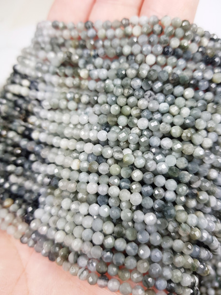 3mm Finely cut Eagle's Eye faceted beads