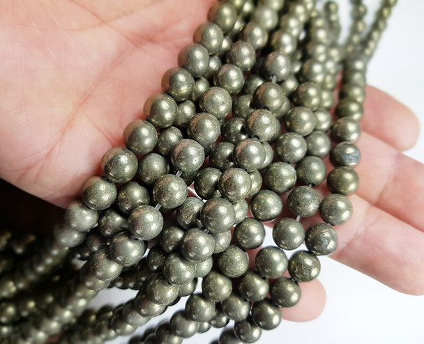 8mm Natural pyrite smooth round beads