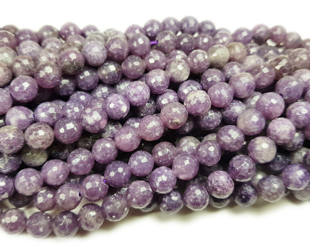 8mm Lepidolite purple faceted round beads