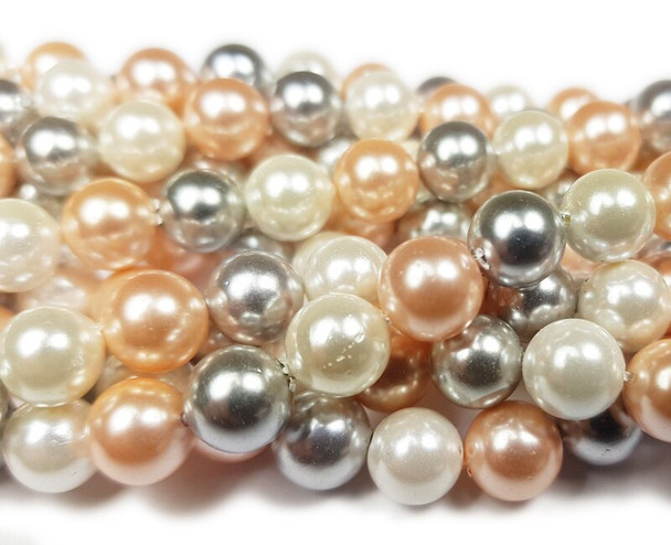 10mm  Silver, pink, and white shell pearl round beads