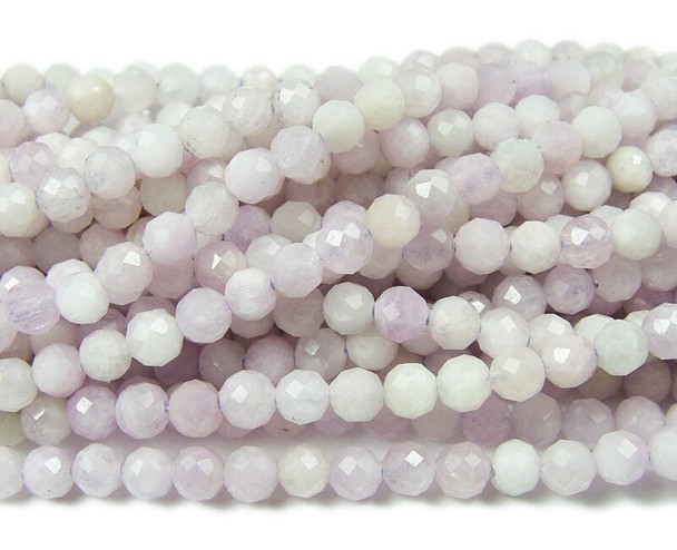 3mm Finely cut Kunzite faceted beads